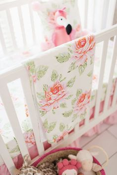 Floral Nursery Bedding Fascinating Floral Nursery Set  Rosewater In Coral Crib Collection  Crib Design Decoration