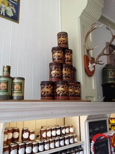 Beautiful old spice containers at our shop
