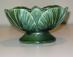 Vintage Green Fan Shaped American Bisque Pottery