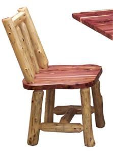 Bring the beauty of cedar wood into your kitchen or dining room with these rustic style cedar log dining chairs. Order a set of these beautiful cedar chairs fo Log Furniture Tools, Cedar Furniture, Rustic Outdoor Furniture, Reclaimed Furniture, Amish Furniture, Recycled Furniture, White Furniture, Furniture Market, Furniture Plans