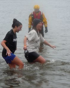 Polar Bear Plunge in frigid waters - raising money for a good cause.....