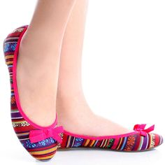 Pink-Canvas Multicolor Boho Ethnic Tribal Women Ballet Bow Flats Shoes
