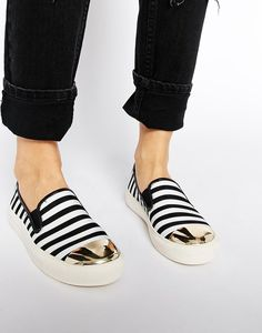 New Look Metalhead Toe Cap Stripe Slip On Sneakers, $36 | 15 Quirky Sneakers Under $50