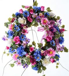 Pink and Blue Spring Wreath: