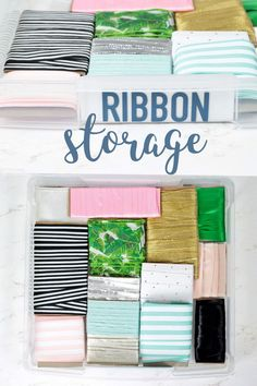 Craft Storage in Under the Stairs Closet : Space-saving ribbon storage! You can store loose ribbon or take it off the spool to save tons of space and always know where your ribbon is with this easy organization idea! Ribbon Organization, Ribbon Storage, Budget Organization, Playroom Organization, Organizing Tips, Craft Shelves, Craft Storage, Craft Tutorials, Diy Projects