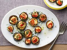 Hummus-filled Middle Eastern Eggplant Rounds #GrillingCentral #Hummus #Eggplant