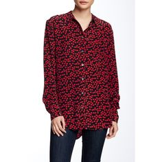 Equipment Reese Silk Blouse ($100) ❤ liked on Polyvore featuring tops, blouses, cherry red, red blouse, spread collar shirt, all over print shirts, button-front shirt and red silk blouse