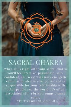 This energetic center is located in your pelvic area and is responsible for your relationship with other people and the world. Learn more about this sexy chakra, and the other 6 chakras at intuitivesoulsblog.com