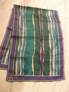 Vintage Polyester VERA scarf with green by TeresaScholleDesigns, $10.00