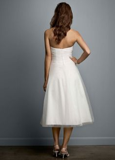 Tea-Length Strapless Tulle Gown with Floral Sash - David's Bridal