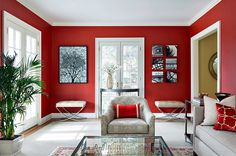 Exquisite way to use red in the living room [Design: Clean Design] Saved from:http://www.decoist.com/2014-10-10/red-living-rooms/