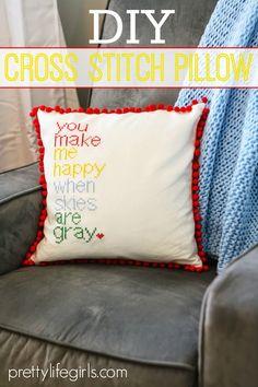 DIY cross stitch pillow