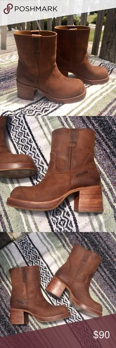 Vintage Durango Boots Amazing vintage Durango boots. Beautiful leather and funky stacked heel. Minimal signs of wear. Durango Shoes Heeled Boots