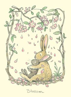 Blossom by Anita Jeram ~ Rabbit and bunny with flowering trees art print. Lapin Art, Anita Jeram, Images Vintage, Rabbit Art, Rabbit Drawing, Bunny Art, Whimsical Art, Book Illustration, Nursery Art