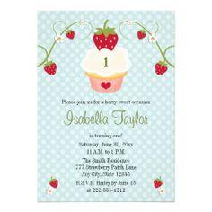 Blue Strawberry Cupcake Birthday Invitation Any Ag