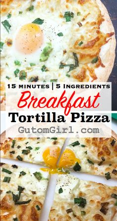 Need a quick breakfast that's ready to eat in 15 minutes? This Breakfast Tortilla Pizza is calling your name! Only 5 ingredients needed and this dish is easily customizable to suit your needs. Perfect for crunchy pizza lovers and busy morning folks! Tortilla Pizza, Breakfast Tortilla, Healthy Tortilla, Breakfast Pizza, Breakfast Recipes, Breakfast Ideas, Tortillas, Quick Healthy Meals, Healthy Recipes
