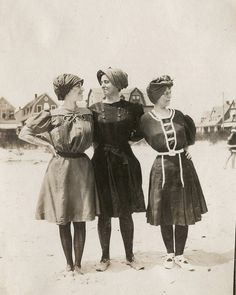 Three ladies at the beach. Early 1900s