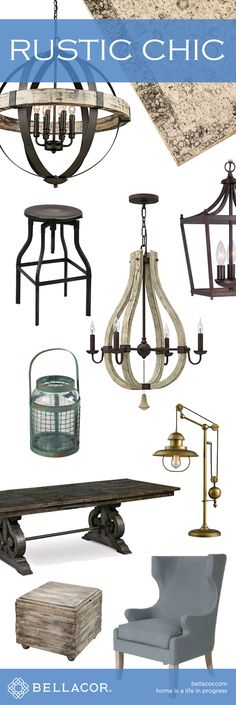 Shop Rustic Chic Lighting, Furniture and Home Decor. Free Shipping on all orders $75+ plus our Bellacor price match guarantee. http://www.bellacor.com/rustic-chic.htm?partid=social_pinterestad_rusticchic_collage
