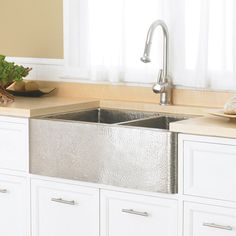 Native Trails Duet CPS76 Double Basin Farmhouse Kitchen Sink Brushed Nickel
