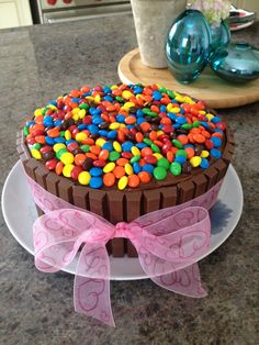 Smartie Cake with Kit Kat bars