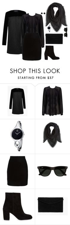 """""""That's for the funeral 🏴"""" by nicoleszlavik ❤ liked on Polyvore featuring French Connection, Wallis, Calvin Klein, Bajra, Thierry Mugler, Ray-Ban, Alexander Wang, MANGO and Yvel"""