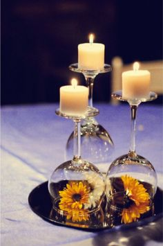 Simple Wine Glass and Candle Center Piece   -- Don't miss out! Follow DIYFunIdeas.com for more!!!