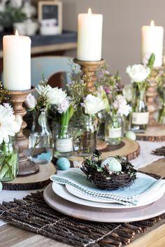 Natural Rustic Easter Brunch Tablescape | blesserhouse.com #tablescape #easter