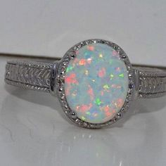 4 Carat Opal Diamond Ring White Gold Quality $44.99
