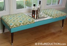 How to reupholster box cusions; Mod Bench Restoration ready for Mad Men!- Eve of Reduction