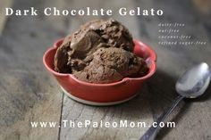 Dark Chocolate Gelato (dairy-free, nut-free, coconut-free) - The Paleo Mom #paleo #dessert