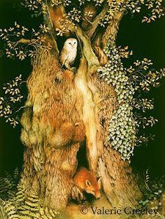 Art And Illustration, Book Illustrations, Watercolor Illustration, Fantasy Kunst, Fantasy Art, Art Fox, Art Fantaisiste, Old Oak Tree, Ouvrages D'art