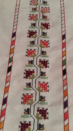 Hand embroidered table runner cross-stitch table by RugsNBags Hungarian Embroidery, Folk Embroidery, Embroidery Patterns Free, Cross Stitch Embroidery, Embroidery Designs, Cross Stitch Borders, Cross Stitch Designs, Cross Stitching, Cross Stitch Patterns
