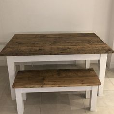 The Farmhouse Dining Table Set with Benches - Rustic Table & Benches - Reclaimed Dining Set - Handmade Dining Set Farmhouse Dining Table Set, Dining Table With Bench, Rustic Table, Dining Set, A Table, Rustic Kitchen, Dining Chairs, Dining Room, Oval Room Blue