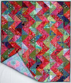 Exuberant Color: Another finish........ Backing of the Warm/Cool Zig Zag quilt.