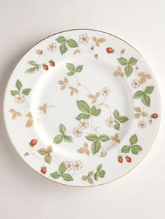 Leaf Pattern Plate  Based on an eighteenth-century drawing found in the Wedgwood archives, Wild Strawberry was first manufactured for Tiffany & Co. starting in 1965. The line was an immediate sellout upon its arrival in New York and has gone on to become one of Wedgwood's bestselling patterns of all time.