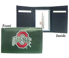 Ohio State Buckeyes Embroidered Leather Tri-Fold Wallet by Hall of Fame Memorabilia. Ohio State Buckeyes Embroidered Leather Tri-Fold Wallet.
