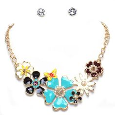 Francine's Fancy Gold Tone Multi Color Flowers and Butterfly Statement Bib Necklace and Earrings Set