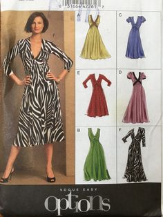 Vogue Options Pattern V8489 2006 Dress Sizes 8-10-12-14-16