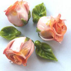 Salmon roses / lampwork bead set / Handmade / by PetrovnaLampwork