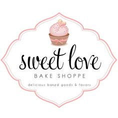 Custom Logo Design for Sweet Love Bake Shoppe // Logo Design by Coconut Press Cake Logo Design, Food Logo Design, Custom Logo Design, Custom Logos, Sweet Logo, Cupcake Logo, Logo Doce, Candy Logo, Baking Logo