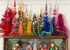Vintage glass Christmas tree topper collection displayed using mini rainbow trees by Jennifer Perkins    #rainbowchristmas #treetoppercollection #vintagetreetopper