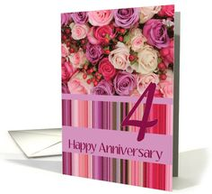 4th Wedding Anniversary Card - Pastel roses and stripes card