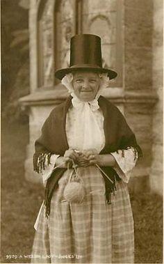A Welsh Lady in Costume Bonnet Hat Knitting Yarn