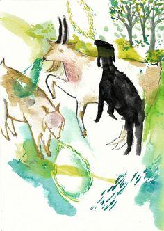 watercolor goats