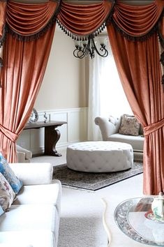 Orange Pearl Dahlia Flip Pole Swag Valance draperies http://www.celuce.com/p/218/orange-pearl-dahlia-flip-pole-swag-valance-draperies  This style is a great fit for wide windows or bay windows. The design allows you to move the swags around to adjust the width. Also, you can add or remove swags easily or even mix n match with other color chenille swags for a modern look.