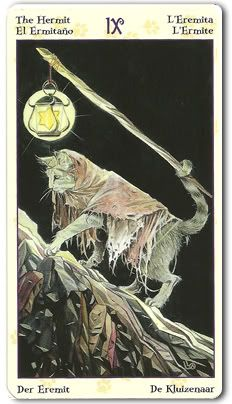 Tarot of Pagan Cats - The Hermit. Why does this cat have a prehensile tail?
