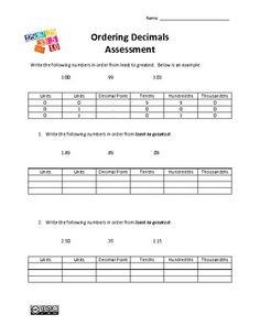 Ordering Decimals Assessment