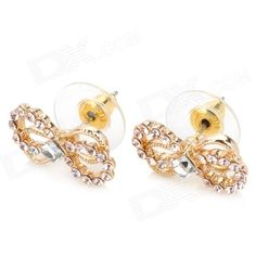 Brand: MaDouGongZhu; Model: R106-1; Quantity: 2 Piece; Color: Golden; Material: Zinc alloy + Rhinestone + Golden color electroplating; Gender: Women; Suitable for: Adults; Size: 1.7 cm; Other Features: Eco-friendly, allergy free and fadeless; Shining rhinestone bow knot style, makes your look charming; good for matching kinds of dress; Great gifts to your girl friends; Packing List: 2 x Ear Studs; http://j.mp/1tpcTSd