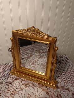 Vintage Stand Vanity Mirror -  Gold Leaf Dresser Mirror  -  15-713 by BubbiesMemories on Etsy
