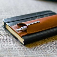 Pocket (A6) Double Pen Holder - Brown Leather